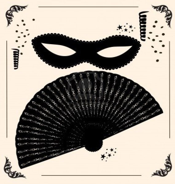 9920828-on-vintage-background-is-outlines-carnival-mask-and-fan